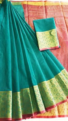 sea green woven cotton saree with blouse