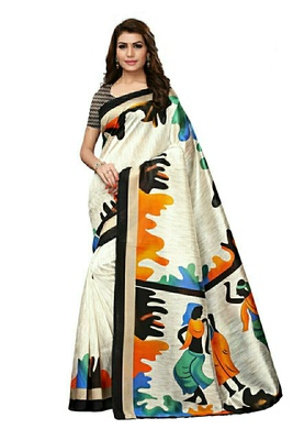 Off white printed bhagalpuri silk saree with blouse