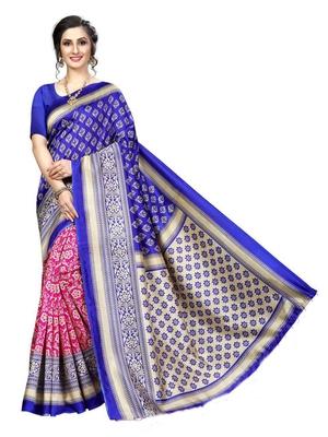 Royal blue printed bhagalpuri silk saree with blouse