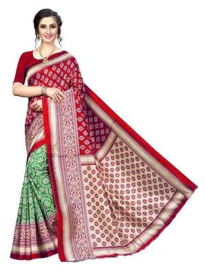 Rust printed bhagalpuri silk saree with blouse