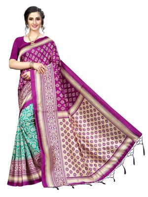 Dark purple printed bhagalpuri silk saree with blouse