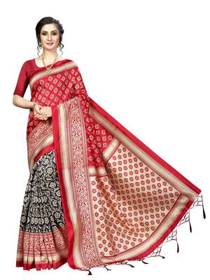 Rust printed bhagalpuri silk saree with blouse