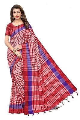 Light peach printed cotton silk saree with blouse