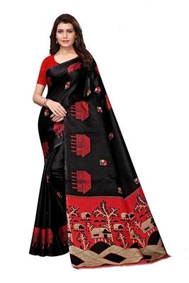 Black woven bhagalpuri silk saree with blouse