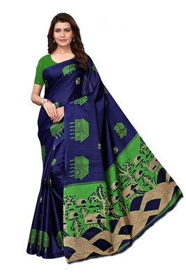 Navy blue woven bhagalpuri silk saree with blouse