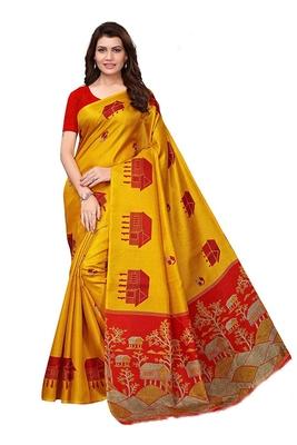 Yellow woven bhagalpuri silk saree with blouse