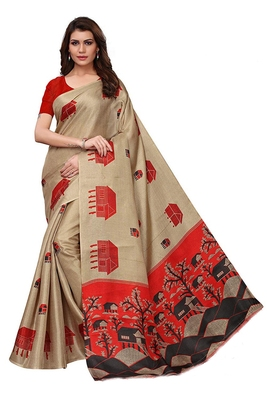 Beige woven bhagalpuri silk saree with blouse