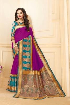 Rani pink printed art silk saree with blouse