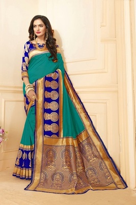 Teal printed art silk saree with blouse