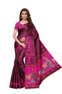 Magenta printed art silk saree with blouse