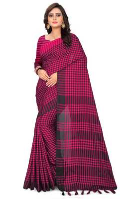 Rani pink printed linen saree with blouse