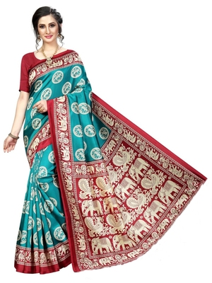 Teal printed bhagalpuri silk saree with blouse