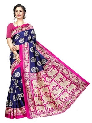Navy blue printed bhagalpuri silk saree with blouse