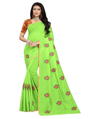 Light green embroidered chanderi saree with blouse