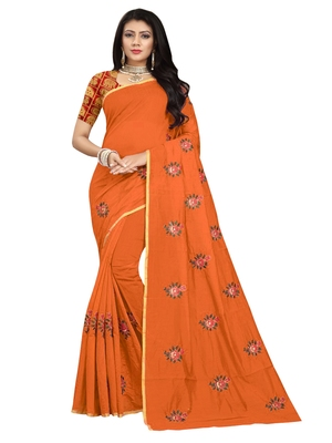Orange embroidered chanderi saree with blouse