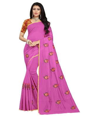 Violet embroidered chanderi saree with blouse