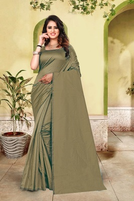 Dark olive plain cotton silk saree with blouse