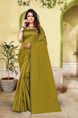 Olive plain cotton silk saree with blouse