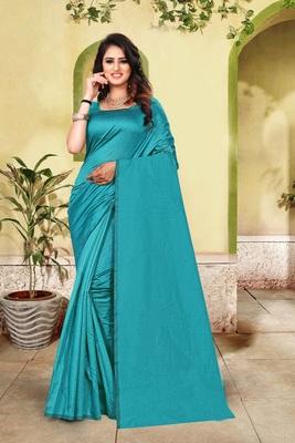 Teal plain cotton silk saree with blouse