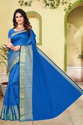 Blue plain cotton silk saree with blouse