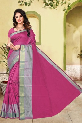 Magenta plain cotton silk saree with blouse