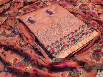peach embroidered chanderi unstitched salwar with dupatta