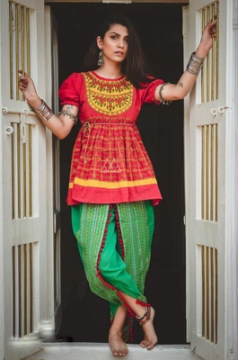 GREEN KHADI EMBROIDERED KEDIA WITH ONE SIZE SLEEVE AND TULIP PANTS SET