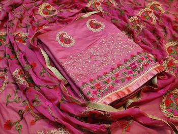 magenta EMBROIDERED CHANDERI UNSTITCHED SALWAR WITH DUPATTA