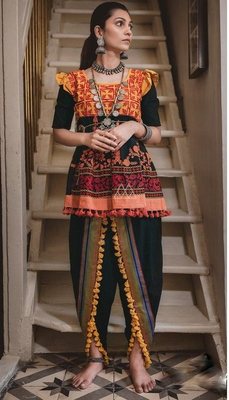 BLACK KHADI EMBROIDERED KEDIA WITH ONE SIZE SLEEVE AND TULIP PANTS SET