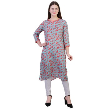 Multicolor printed viscose ethnic-kurtis