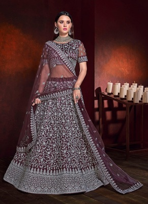 Burgundy embroidered net semi stitched lehenga