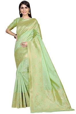 Olive woven banarasi saree with blouse
