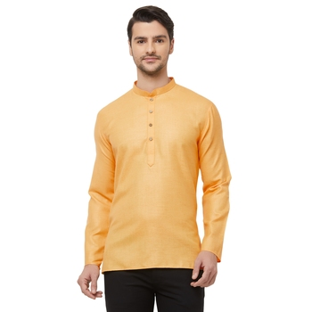 Orange woven cotton men-kurtas