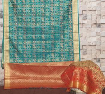 sea green kanjivaram silk saree with blouse