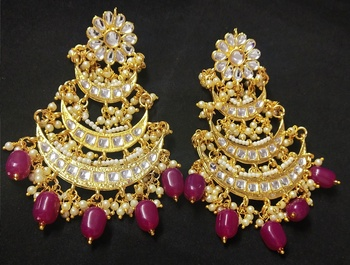 Designer Ethnic Indian Bollywood Ruby White Kundan Pearl Bridal Earrings Set