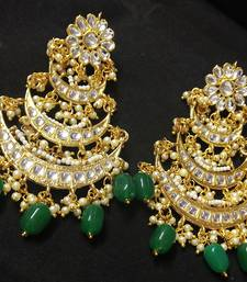 Designer Ethnic Indian Bollywood Emerald White Kundan Pearl Bridal Earrings Set