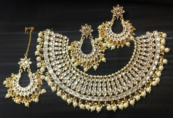Ethnic Indian Bollywood Traditional Bridal Kundan Pearl Full Jewelry Set
