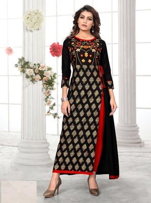 Black embroidered rayon long kurtis