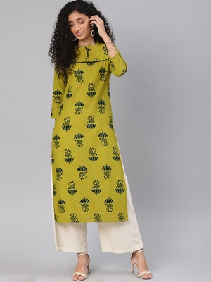Kimisha Mahendi Green Cotton Slub Straight Kurti