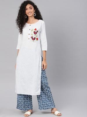 Kimisha Women's White Cotton Embroidered Straight Kurta (Full Stitched)