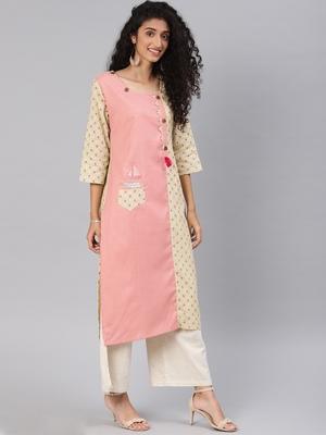 Baby-pink printed cotton cotton-kurtis