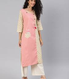 Kimisha Women's Baby Pink & Off White Cotton Slub Straight Kurti