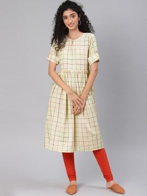 Kimisha Women's Beige Cotton Flex Anarkali Kurti