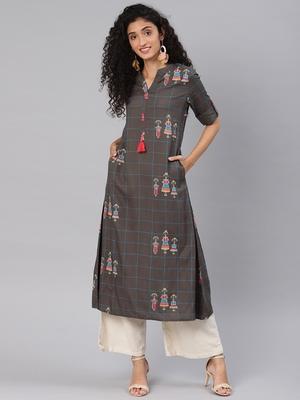 Kimisha Women's Grey Rayon Cotton Printed A LINE Kurta
