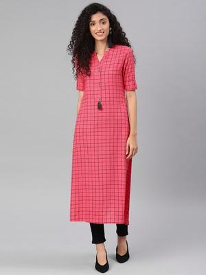 Kimisha Women's Pink Rayon Cotton Printed A-Line Kurti With Pocket