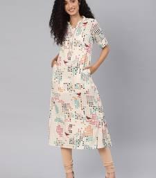 Kimisha Women's Off White Rayon Cotton Printed A-Line Kurti With Pocket
