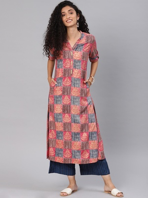Kimisha Women's Multicolor Rayon Cotton A LINE Kurti