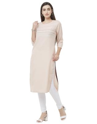 Light-pink plain cotton poly ethnic-kurtis