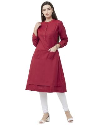 Maroon plain cotton ethnic-kurtis