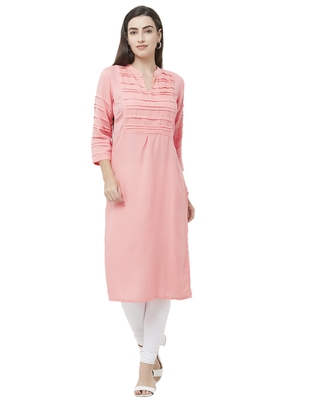 Pink plain viscose ethnic-kurtis